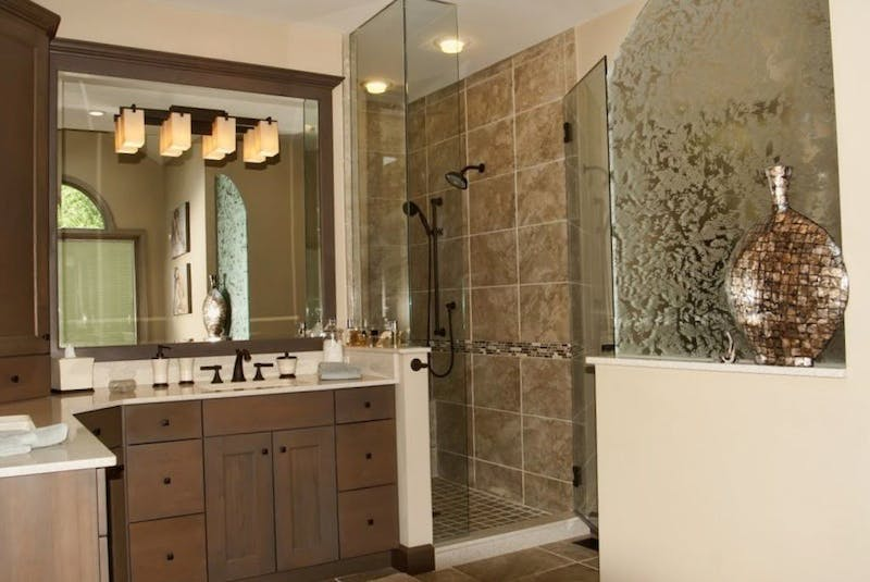 (Bathroom Remodel, Montgomery) Pattern Glass Partition, Beveled Mirror, and European Shower