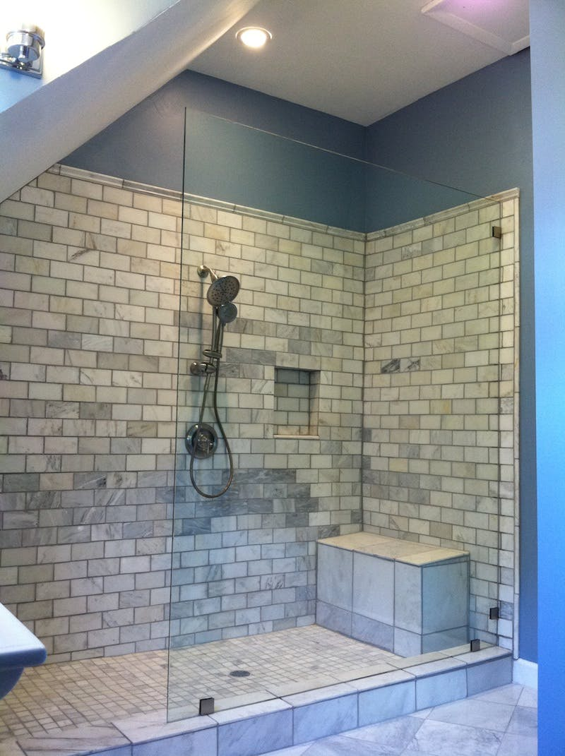 (Bathroom Remodel, Over-the-Rhine) Heavy Glass Shower Installation in Condo