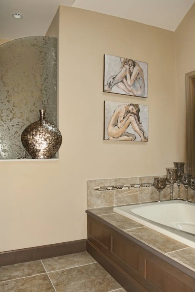 (Bathroom Remodel, Montgomery) Pattern Glass Partition