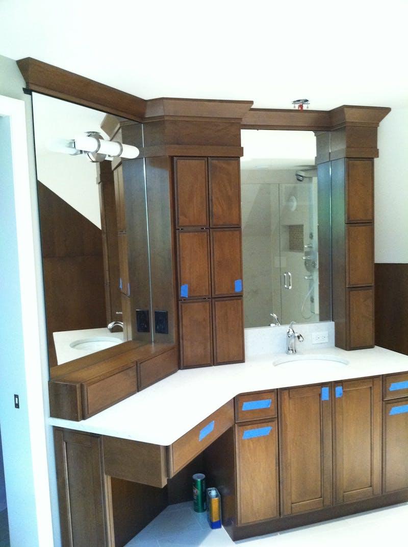(Bathroom Remodel, Cincinnati) Mirror Installed to Glass to Vanity