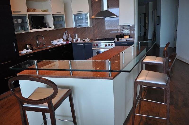 (Kitchen Remodel, Cincinnati) Heavy Glass Counter Installed to Kitchen Island