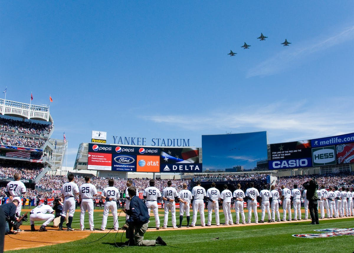 Yankees Stadium with jet flyover