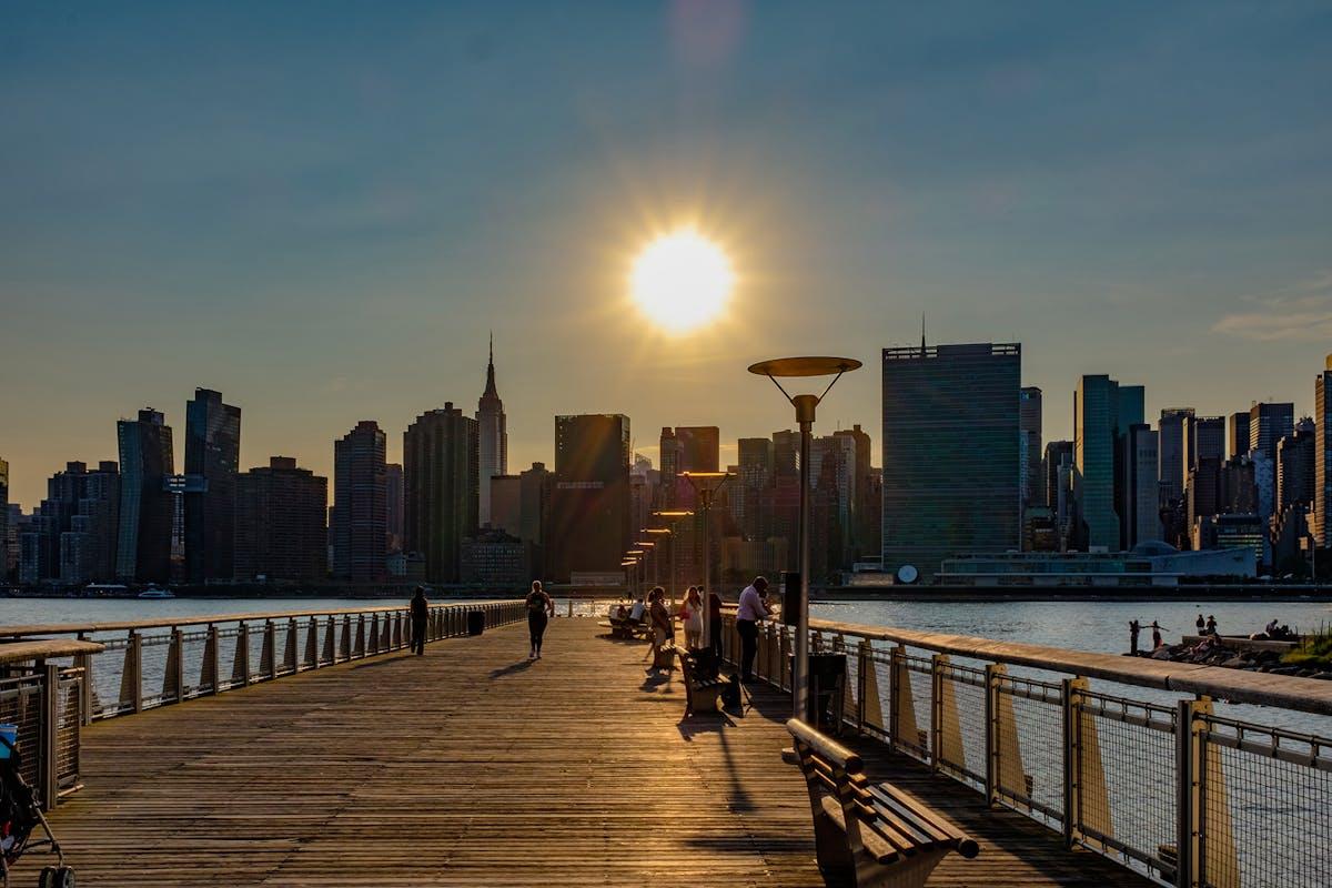 Sunset over the New York City skyline