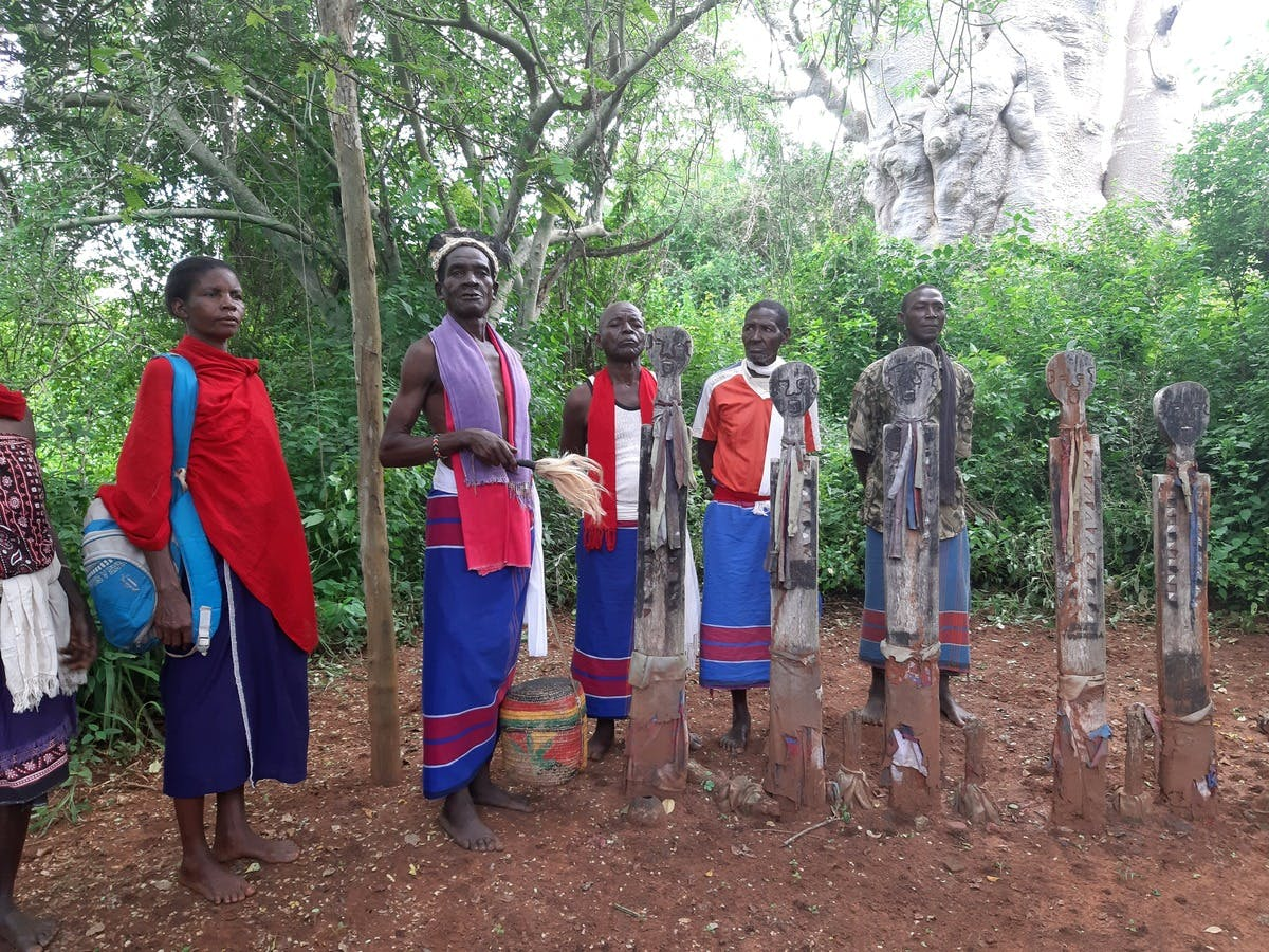 Hillary Mwatsuma Kalama (holding a fly-whisk) together with his fellow elders who are tasked with protecting the Kaya forests stand behind a Vigango shrine.
