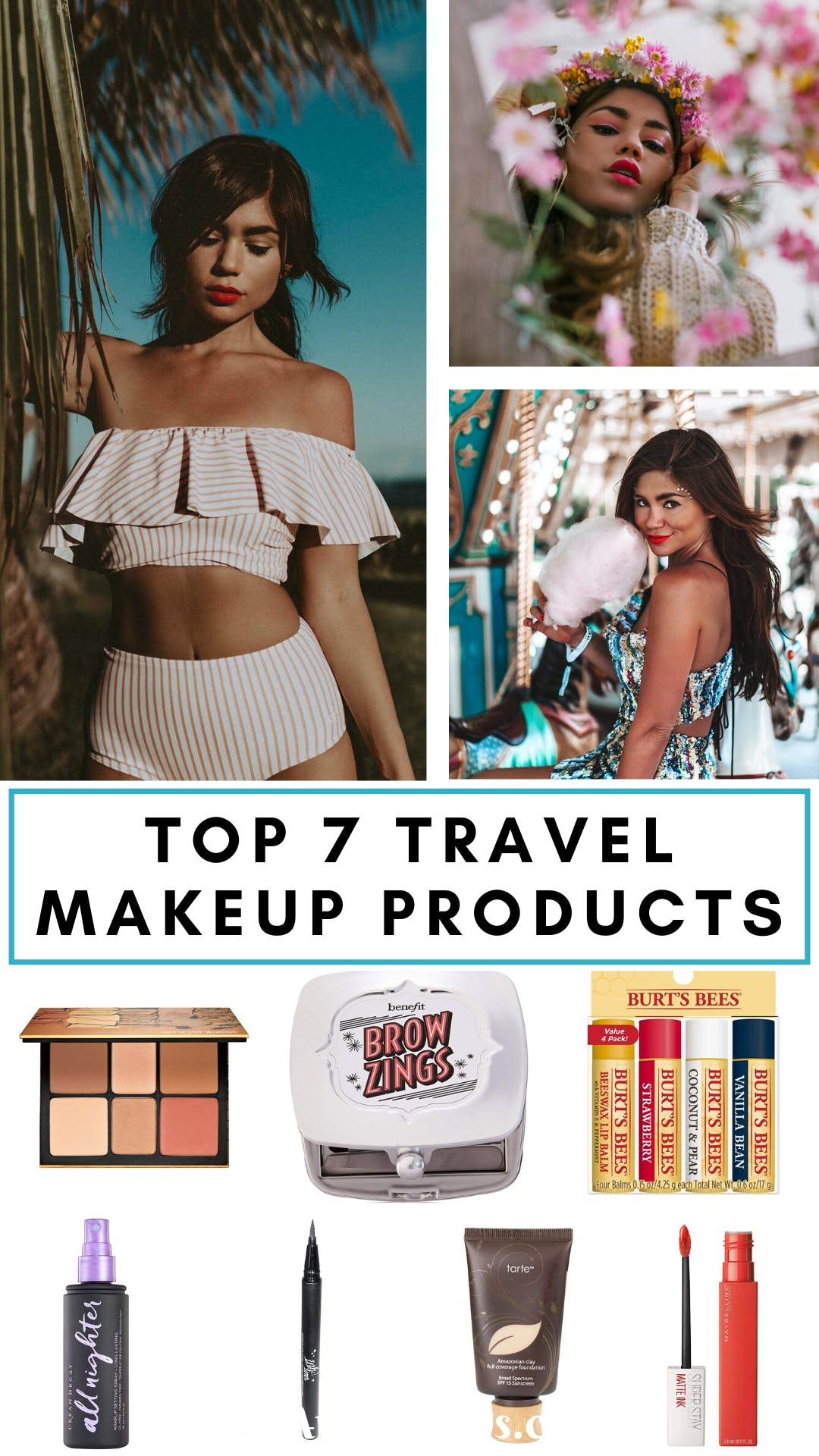 These are the 7 best makeup products I have found for travel. I look for products that are waterproof, long-lasting, reliable products that are easy to use and worth every cent! #beauty #makeup #beautyproducts | best makeup products | travel makeup essentials | travel makeup bag essentials | travel makeup kit | travel makeup best | travel makeup products | travel makeup list | travel makeup essential beauty products | whats in my travel makeup bag | must have makeup products