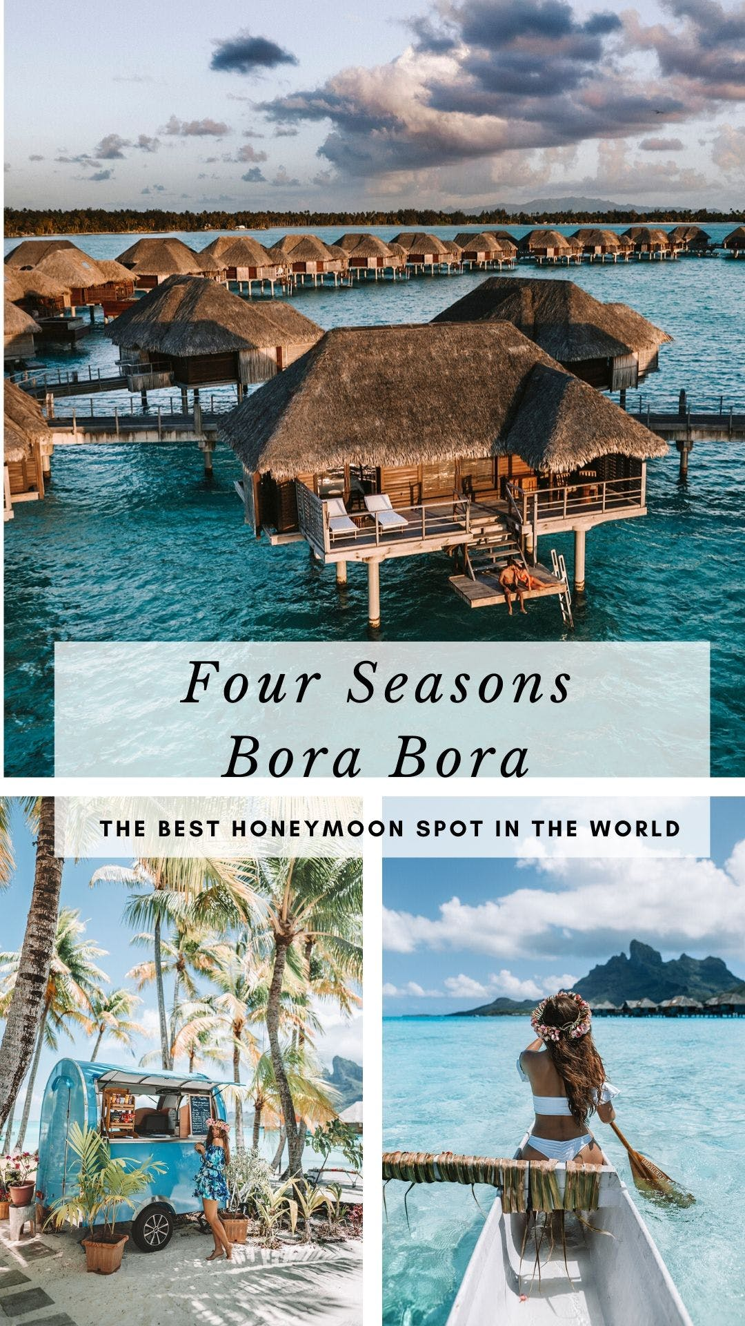 Four Seasons Bora Bora Resort is the perfect spot for a honeymoon in Bora Bora. Click here for the full guide to Four Seasons Bora Bora! #borabora #honeymoon #bucketlist #travel | Bora Bora honeymoon bungalows | Bora Bora honeymoon romantic getaways | Bora Bora honeymoon pictures | Bora Bora honeymoon resorts | Bora Bora honeymoon things to do in | Bora Bora honeymoon couple | Bora Bora honeymoon Four Seasons | Bora Bora honeymoon bungalows glass floor | Bora Bora bungalow Four Seasons interior