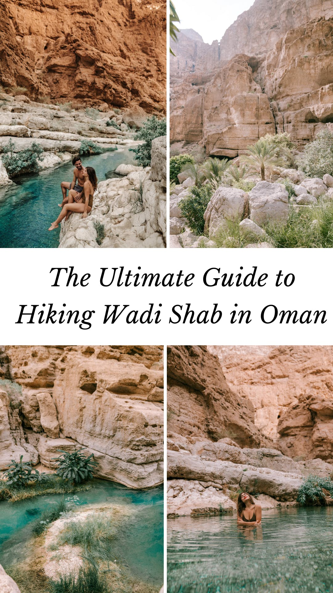 For an adventure in Oman, hike into Wadi Shab. Click here for the ultimate guide to the best hike in Oman! #oman #middleeast #travel | Oman Wadi Shab | Wadi Shab in Oman | Wadi Shab Oman hike | Oman things to do in | Oman photography | Oman travel outfits | Oman travel woman | Oman travel destinations | Oman travel guide | Oman travel adventure | tips for travel to Oman | best places to travel in the Middle East | Oman travel tips | Oman travel photography | Middle East travel tips