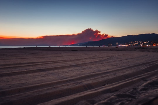 Smoke over the beach at Ocean Front Walk, Santa Monica, California
