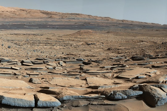 """A view from the """"Kimberley"""" formation on Mars taken by NASA's Curiosity rover. The strata in the foreground dip towards the base of Mount Sharp, indicating flow of water toward a basin that existed before the larger bulk of the mountain formed"""