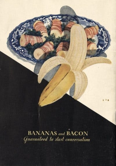 "A book cover reading ""Bananas and Bacon"" with a picture of a banana and a plate of bacon wrapped in a tube."