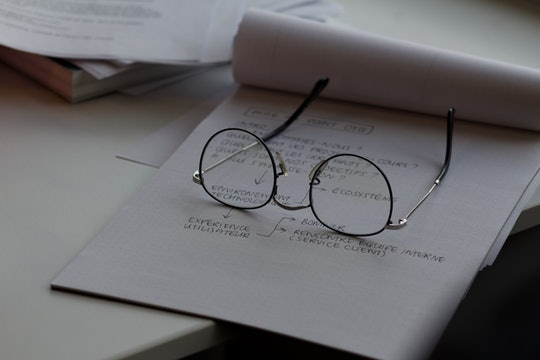 pair of glasses sitting on top of a piece of paper with writing on it