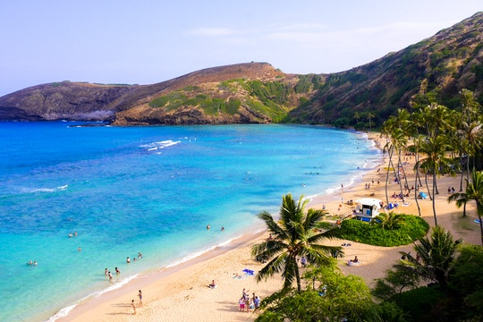Hanauma Bay, Hawaii, USA. A white sand beach in a cove seen from above.