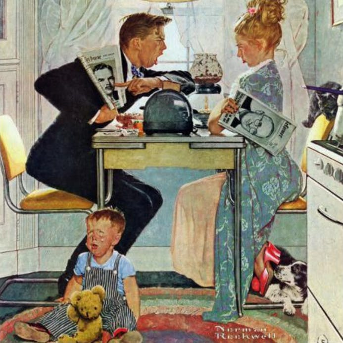 A painting by Norman Rockwell shows a husband and wife arguing over preferred political candidates while a child sits on the floor crying.