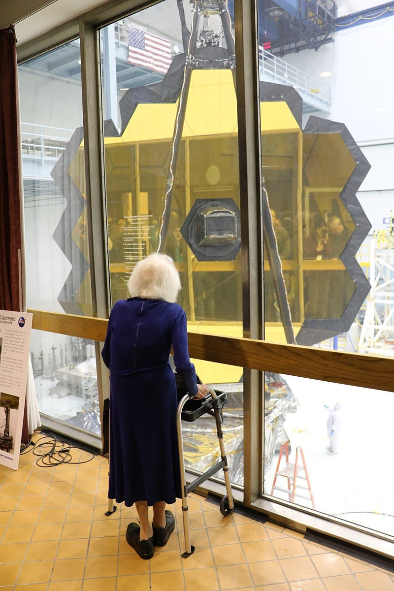 Nancy Grace Roman views the still under construction James Webb Space Telescope in 2017