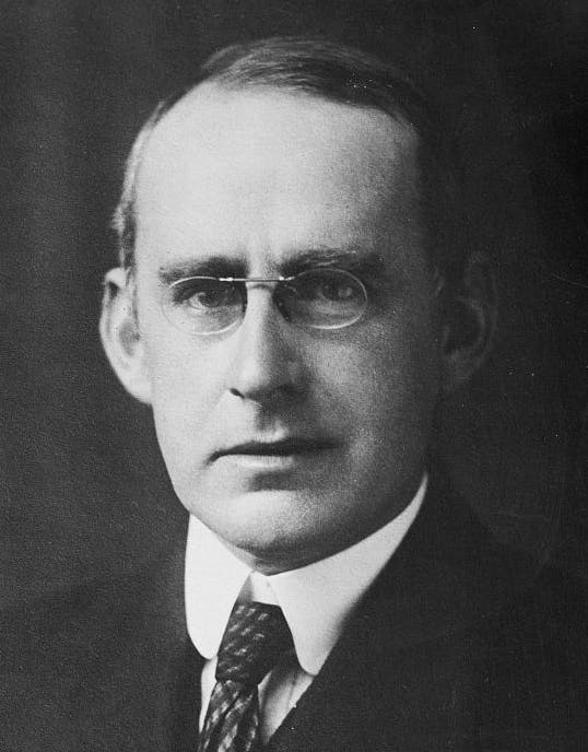 A portrait of Arthur Eddington, leader of the 1919 solar eclipse expedition.