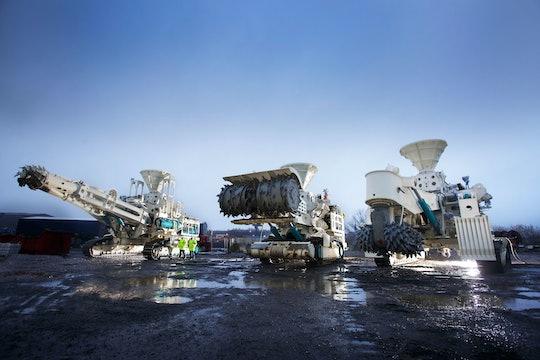 Deep-sea mining vehicles floating on the ocean
