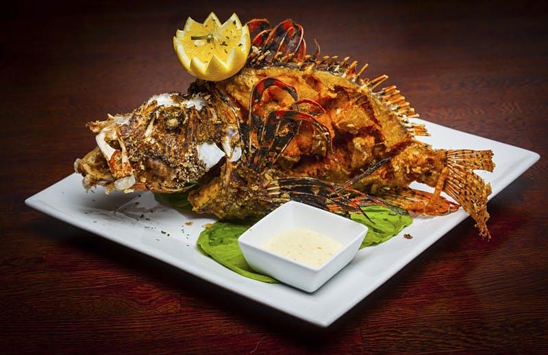A deep fried whole lionfish