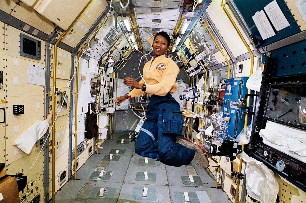 Mae Jemison, a black astronaut, in zero gravity