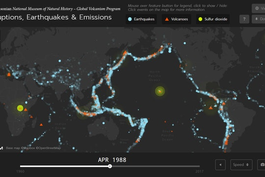 A map of volcanoes erupting, earthquakes, and sulfur dioxide release in April 1988.