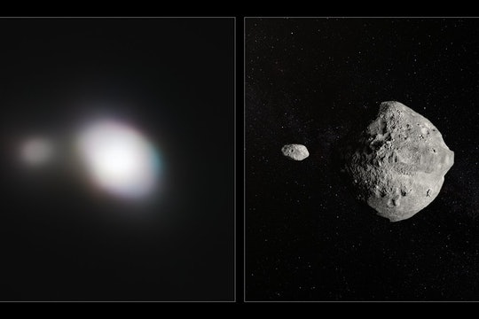 Real image and artist's impression of Asteroid 1999 KW4, a double asteroid.