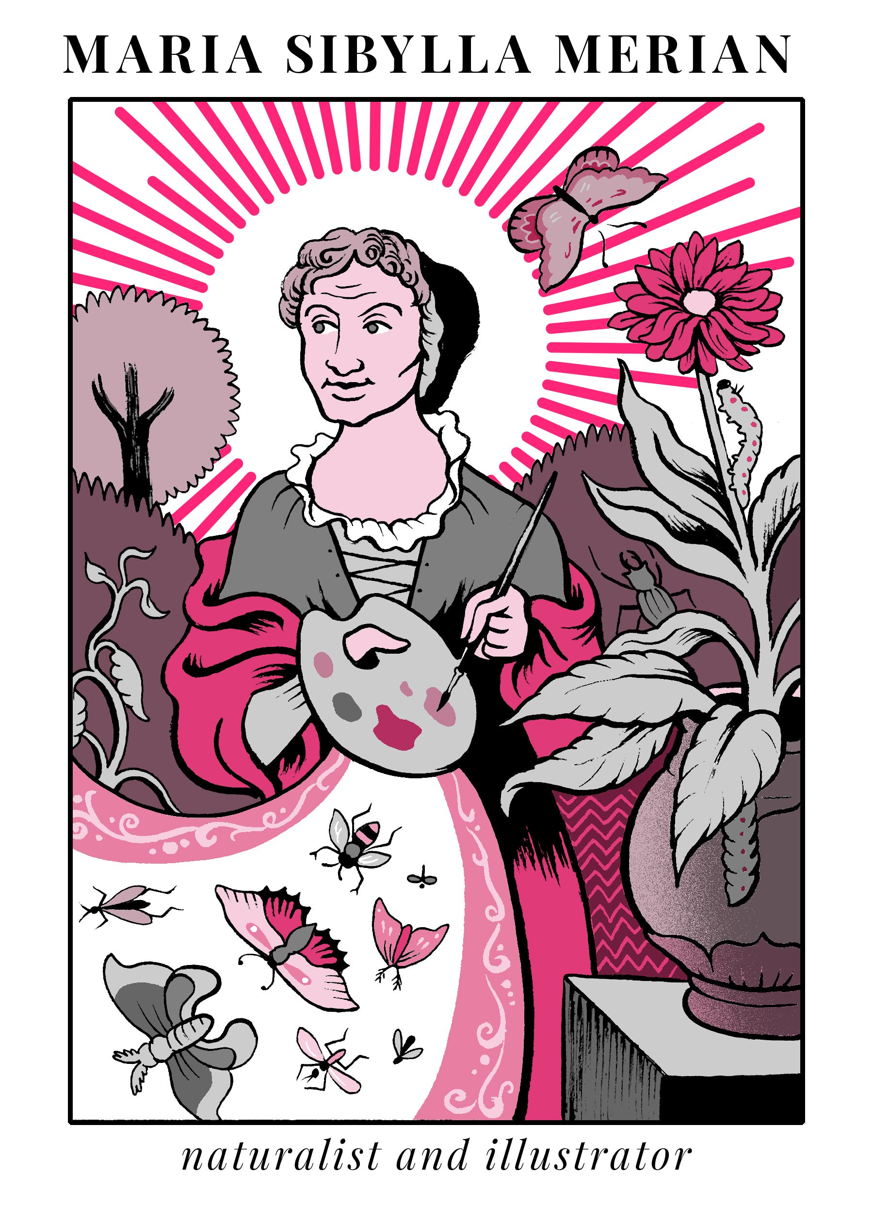 Illustration of Maria Sibylla Merian from Massive Science Tarot deck