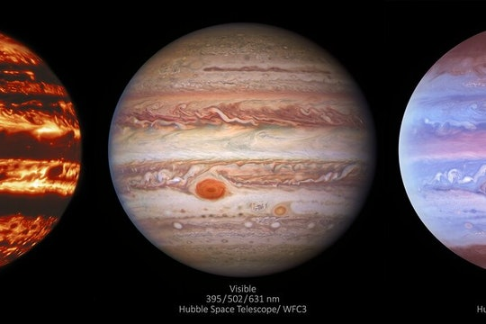 Jupiter, in infrared, visible, and ultraviolet glory