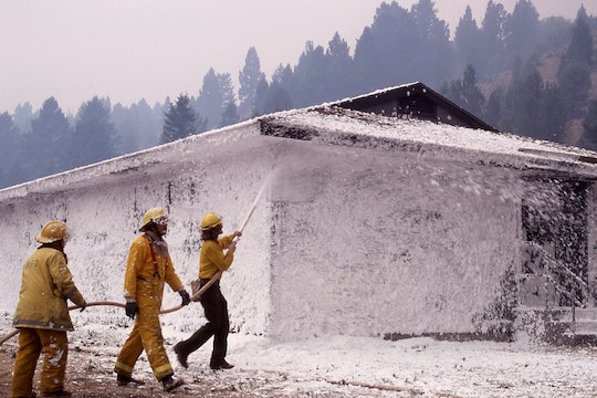 Three firefighters coat a small house in foam during a wildfire.