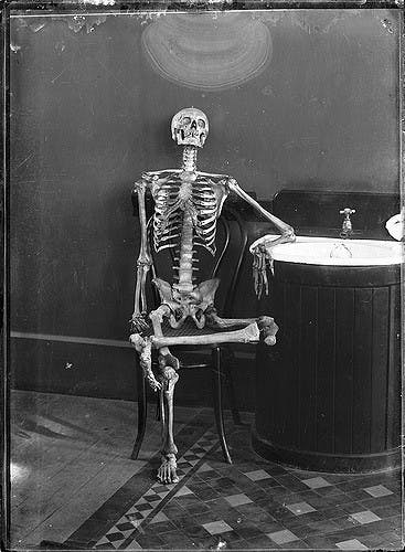 skeleton sitting next to a sink, black and white photo