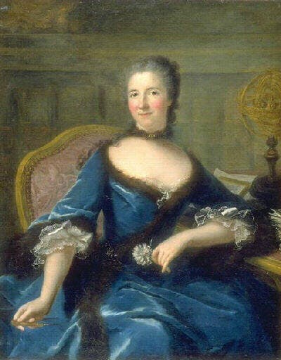 painting of Emilie du Chatelet in a blue dress