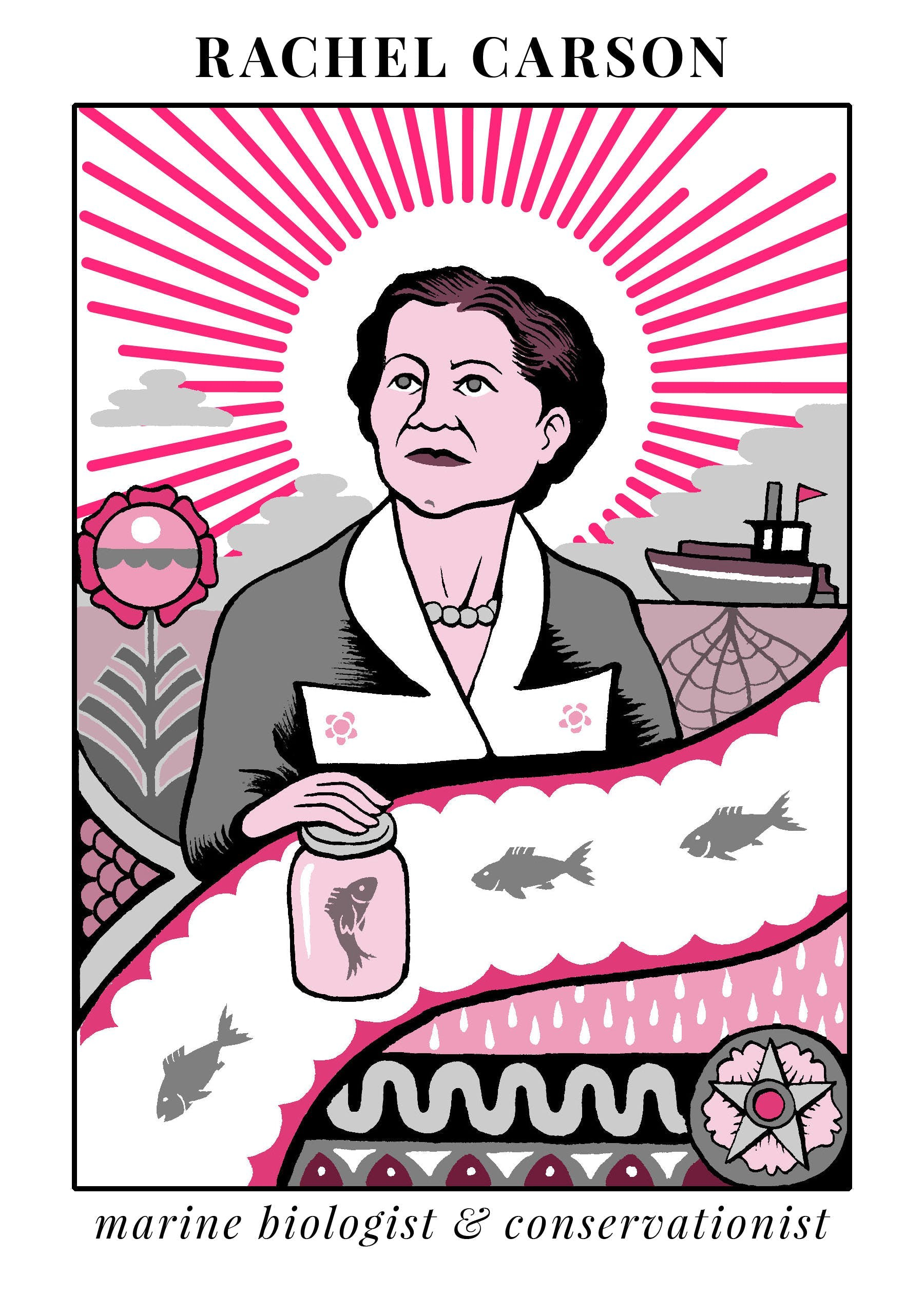 A painting of Rachel Carson, marine biologist and environmentalist who wrote Silent Spring.