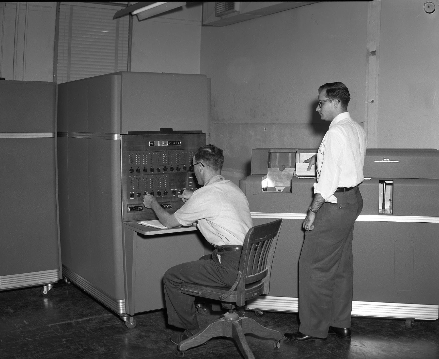 The IBM 650, one of the first mass produced computers ever, being used at Texas A&M