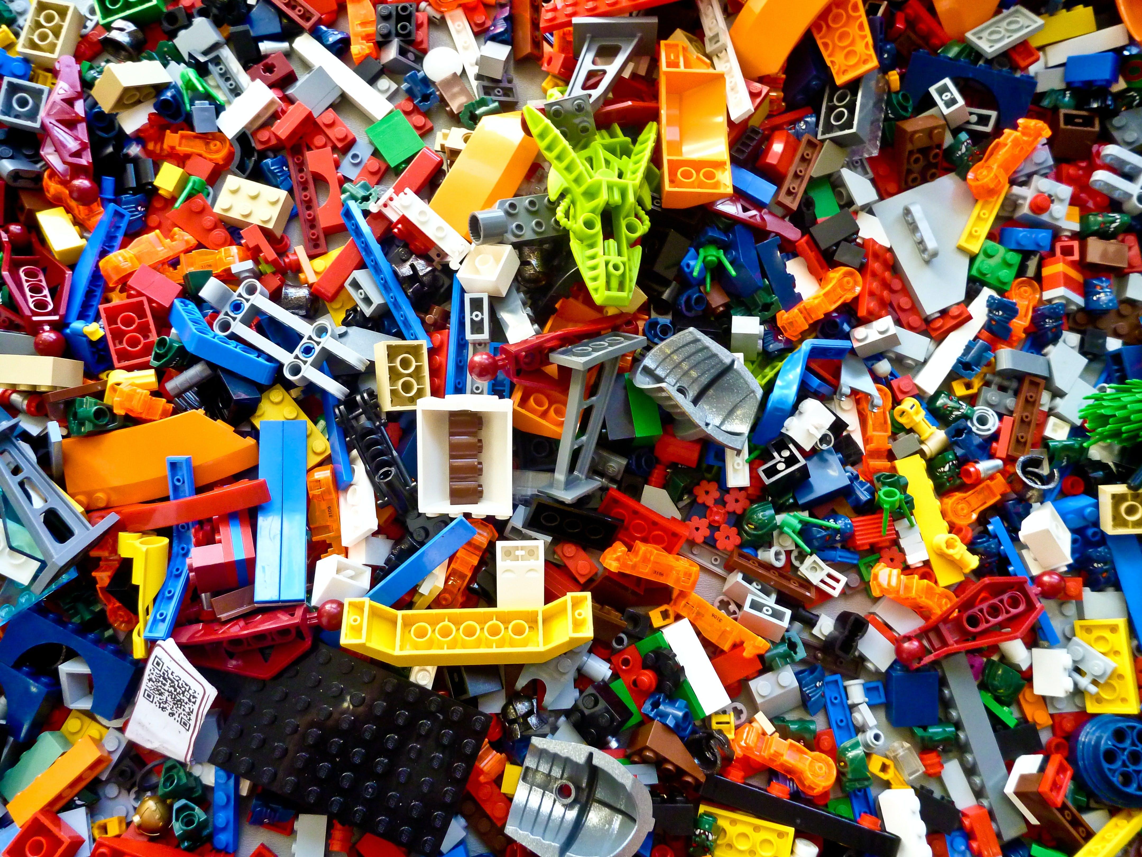 A colorful pile of LEGO bricks