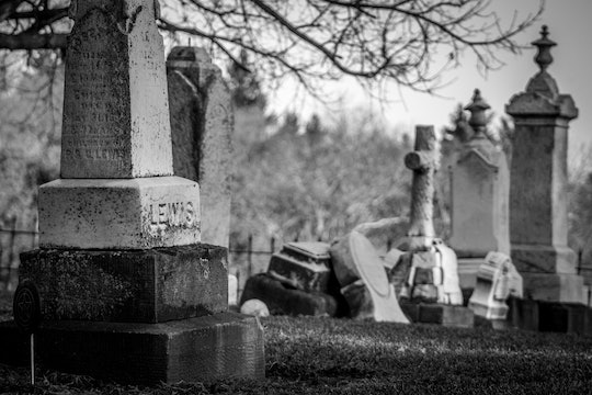 black and white photo of old cemetery