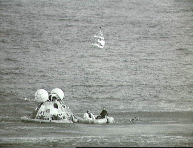 Apollo 13 crew returns safely and awaits rescue