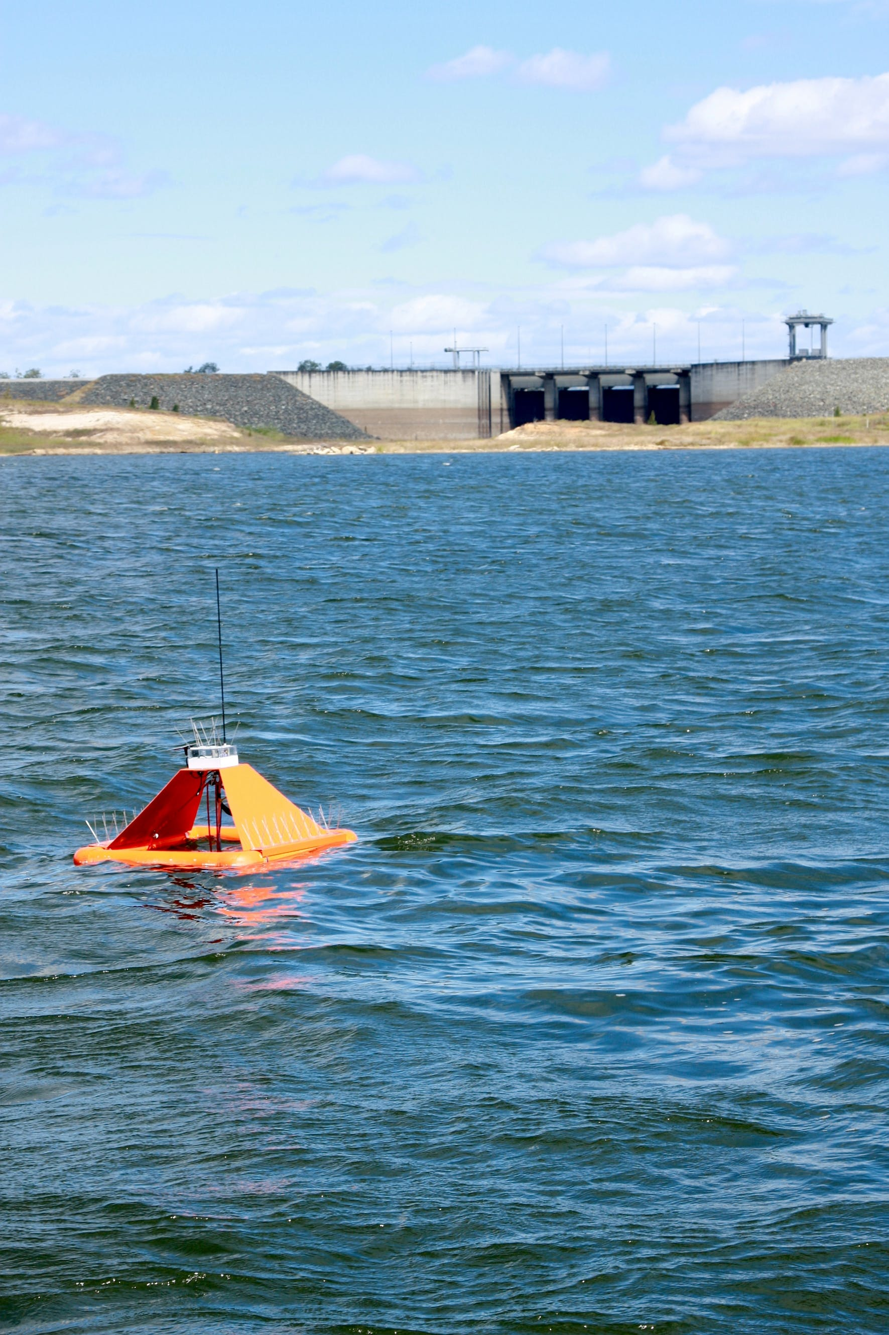 In a bay in Queensland, Australia, a floating remote sensor tracks environmental conditions
