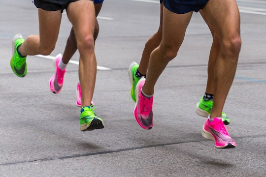 photos of bright pink and green running shoes