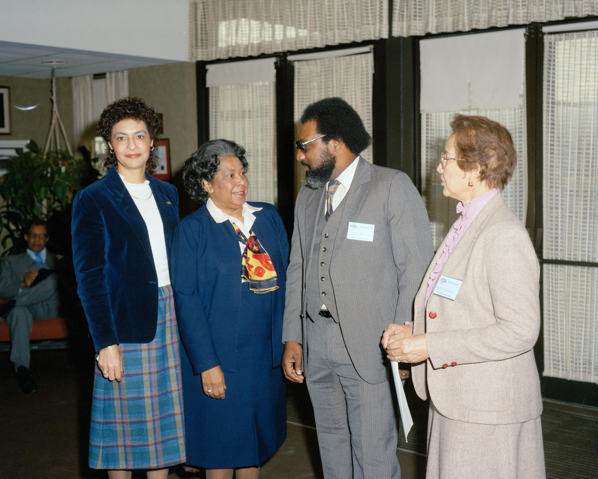 Left to right Vivian Merritt, Mary Jackson, Mr. James Jennings, and Katherine Johnson at a student symposium.