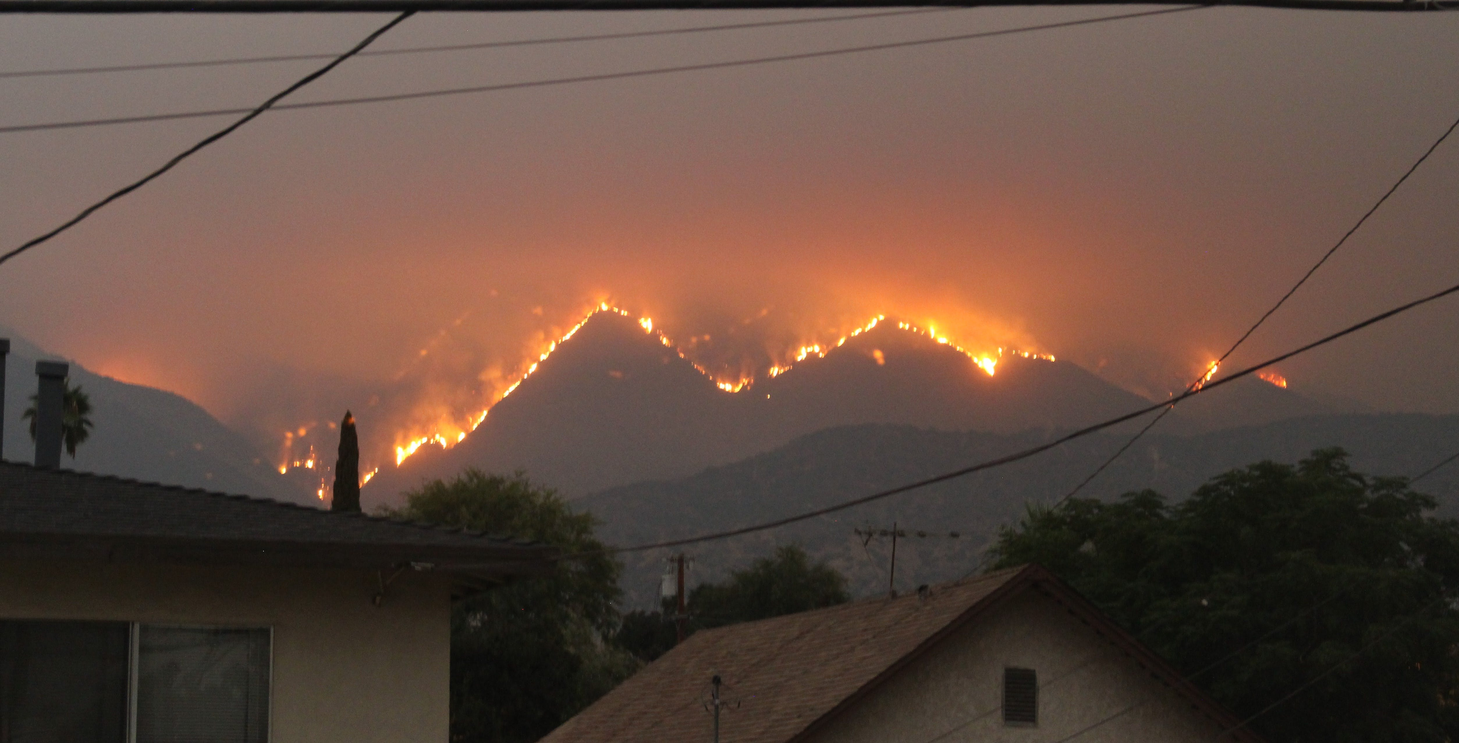 Bobcat Fire view from a home in Monrovia, CA, September 10, 2020