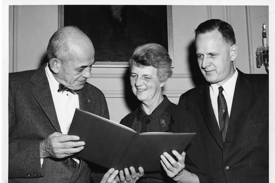 Walter Bauer, Rebecca Lancefield, and Macyln McCarty. Lancefield is receiving the T. Duckett Jones Memorial Award in October 1960.