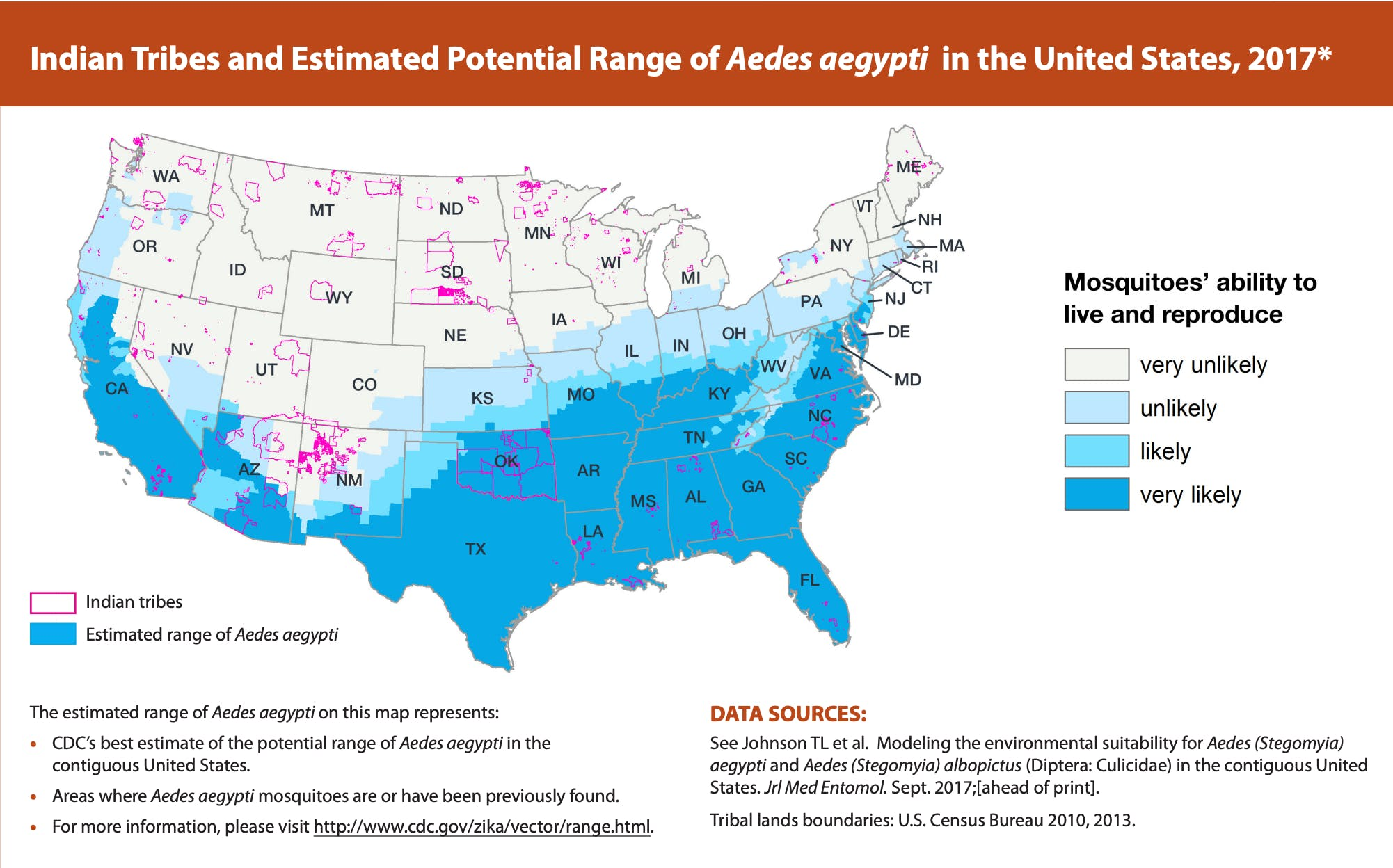 A map showing Aedes aegypti's range in the United States and Indigenous reservations, covering most of the US South and Southwest
