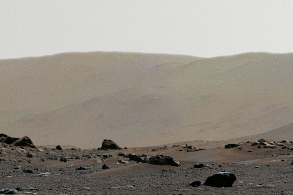 a photo of a crater on mars captured by the Mastcam-Z on Perseverance rover