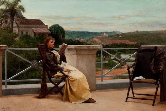 A painting of a woman sitting on a deck reading a book.