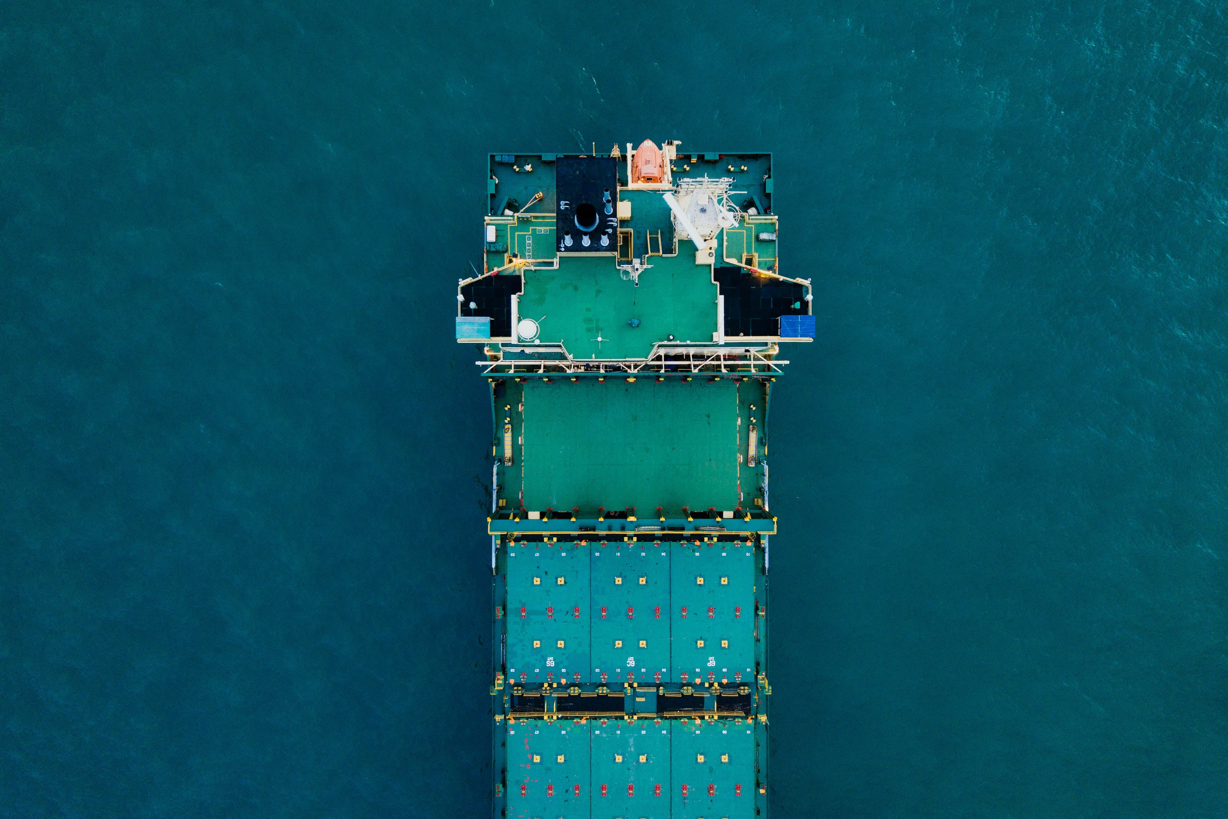Cargo ship from overhead