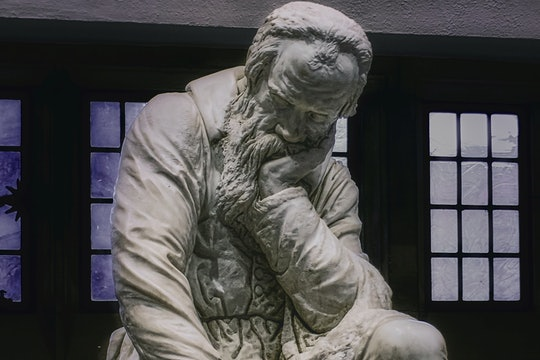 Marble sculpture of Galileo Galilei contemplating the nature of the universe (Nov., 2019).