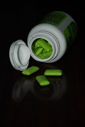 green gum in a bottle