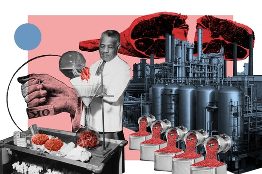 A collage using archival photographs depicts a scientist distilling meat in a lab while a futuristic bioreactor pumps out freshly grown meat