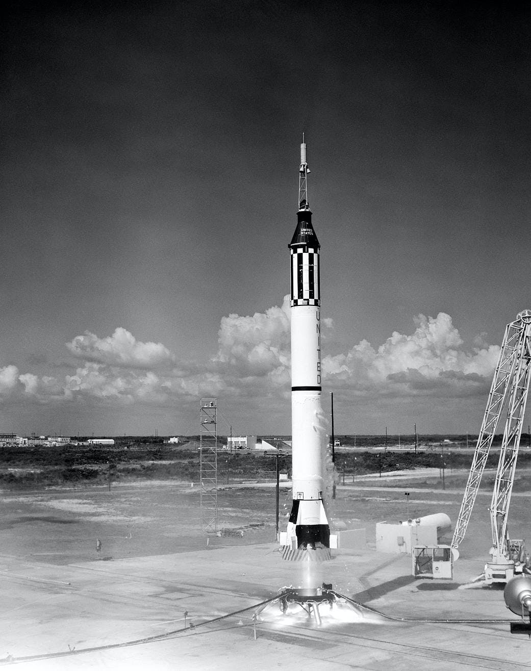 Launch of  the Mercury-Redstone 3 (MR-3) rocket for the Freedom 7 mission, the US's first crewed spaceflight, for which Katherine Johnson did the analysis.