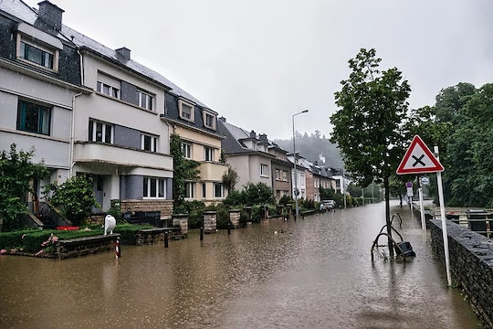 a flooded street in Luxembourg