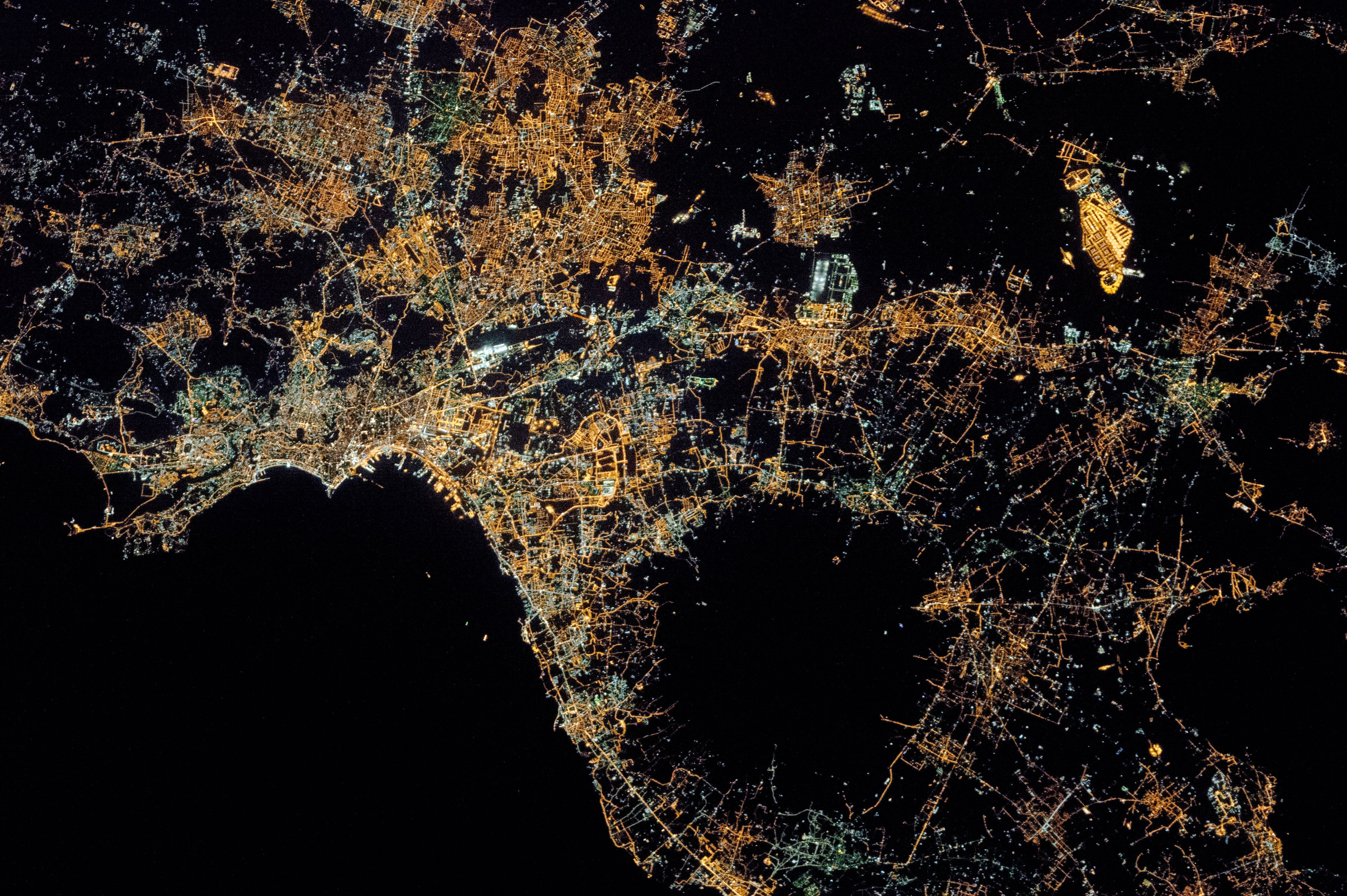 A view from space of the city of Naples sitting near Mount Vesuvius