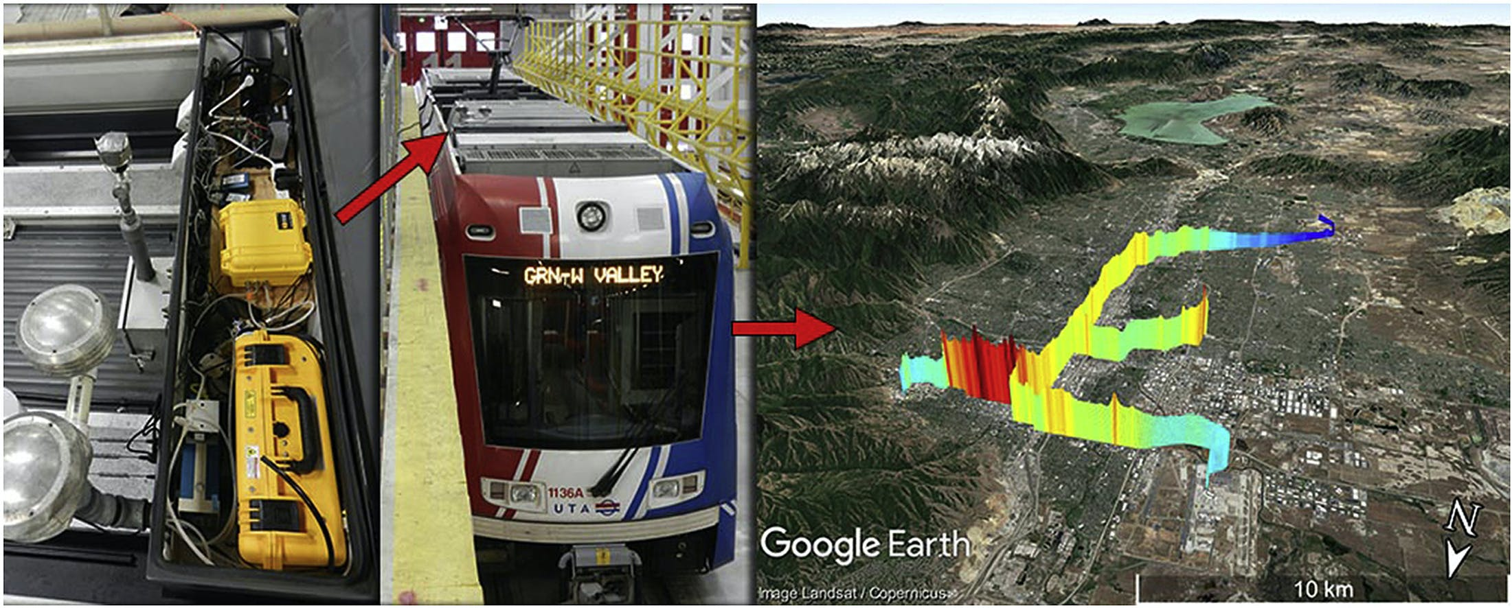 a diagram showing a train with a sensor on top on the left and a google map with air pollution metrics on it on the right